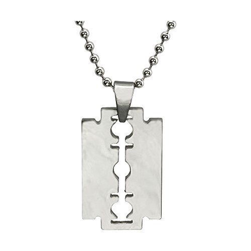 Fm42 Stainless Steel Mens High Polished Razor Blade Pendant Necklace Ln1067