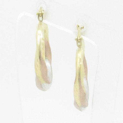 Ladies 10K gold and .925 Italian Sterling Silver earrings fancy stud hoop huggie ball fashion dangle swag HE8
