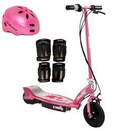 Razor E100 Electric Kids Girls Scooter (Sweet Pea) W/ Helmet, Elbow & Knee Pads