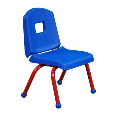 """Creative Colors 10Chrb-Bl-Fg Split-Bucket Chair, Ball Glides, 10"""" Height, Blue Seat And Back, Forest Green Frame front-1048865"""