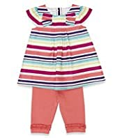 2 Piece Autograph Cotton Rich Striped Dress & Leggings Outfit