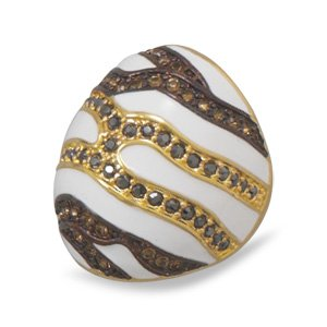 14 Karat Gold Plated White Enamel Ring with Multicolor Crystals / Size 7