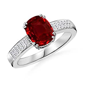 AAAA Quality Prong Set Cushion Ruby Ring With Diamonds in Platinum - Black Friday and Cyber Monday
