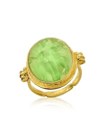 Tagliamonte Three Graces - 18K Gold Green Mother of Pearl Cameo Ring USA 10 | IT 22 | UK T