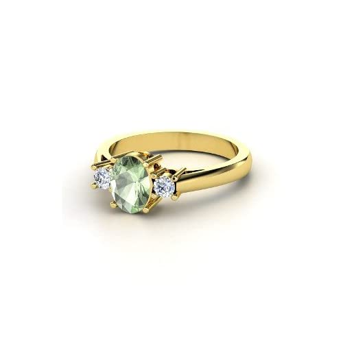 Ashley Ring, Oval Green Amethyst 14K Yellow Gold Ring with