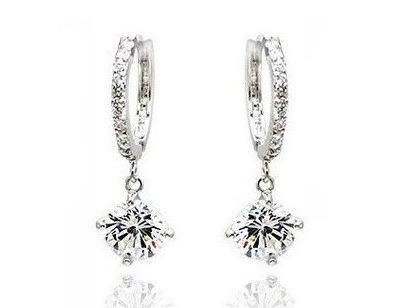 Swarovski Elements Sparkling Silver Loop Earrings with Austrian Crystal For Women