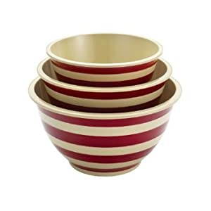 4 X Paula Deen Signature Pantryware 3-Piece Melamine Mixing Bowl Set, Red Stripe