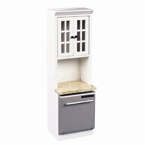 Dollhouse Miniature White Dishwasher Cabinet front-381928