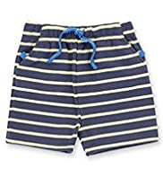 Cotton Rich Contrast Drawstring Striped Shorts