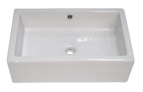 ALFI brand AB2214 Rectangular Farmhouse Apron Front Ceramic Bathroom Sink Basin, White