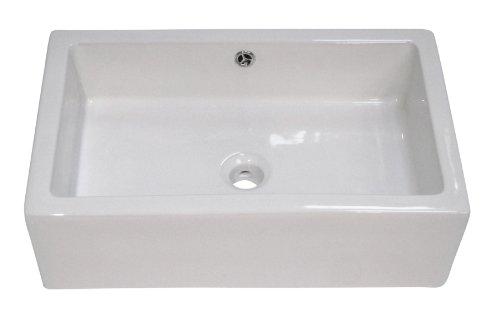 ALFI brand AB2214 Rectangular Farmhouse Apron Front Ceramic Bathroom Sink Basin, White