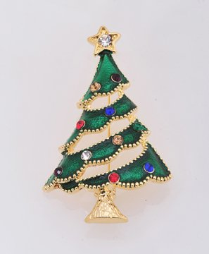 Gold and Green Christmas Rhinestone Decorated Pin Brooch