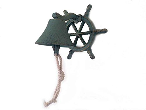 Hampton Nautical  Cast Iron Hanging Ship Wheel Bell, Antique Bronze
