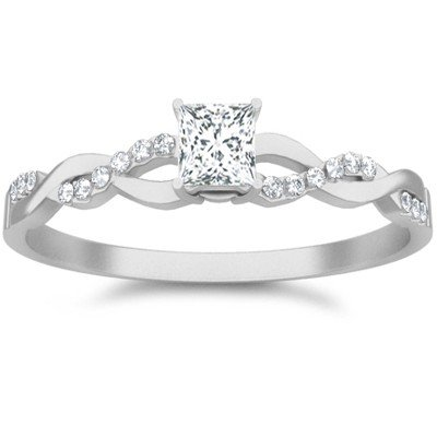 0.58 Carat Inexpensive Engagement ring with Princess cut Diamond on 18K White gold
