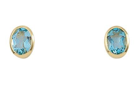 Damen Schmuck 1 Paar Gold Ohrringe / Ohrstecker mit Aquamarin aus 585 Gelb Gold ( 6,1 x 8,2 mm ) günstig kaufen