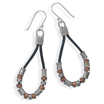 Sterling Silver Two Tone and Black Leather Earrings