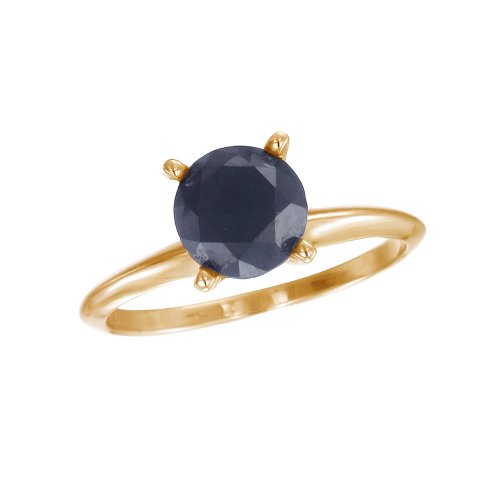 3 CT Black Diamond Solitaire Ring 14K Yellow