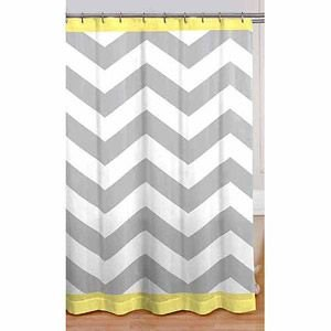 Gray Yellow White Chevron Fabric Shower Curtain Home Kitchen