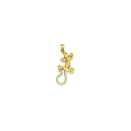 14k Yellow Gold Polished Gecko Pendant (13x31 mm)