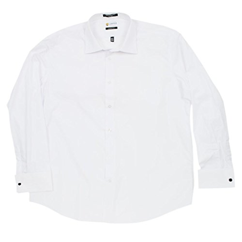 Men 39 s dress shirt slim fit french cuff solid white from White french cuff shirt slim fit