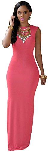 Blorse Maxi Sexy Halter Slim Round Neck Sleeveless Long Dress(Pink,One Size)