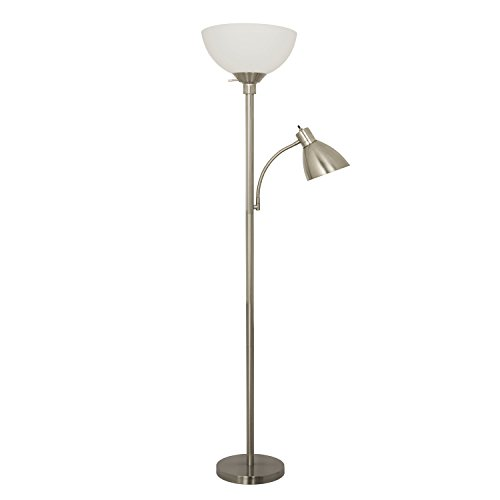 floor lamp with reading light 150 watt metal satin nickel living room. Black Bedroom Furniture Sets. Home Design Ideas
