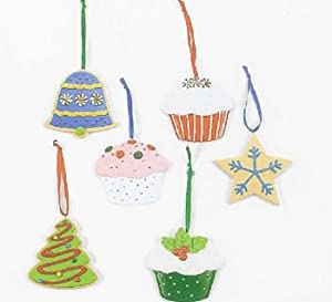 12 Adorable CHRISTMAS COOKIE & CUPCAKE ORNAMENTS/YUMMY HOLIDAY TREE DECORATIONS/GOODIES Decor