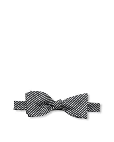 Bruno Piattelli Men's Striped Bow Tie, Black/White
