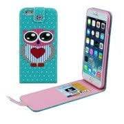 Heart Owl Pattern Vertical Flip Leather Case with Card Slots for iPhone 6 Plus