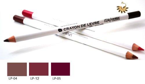 Itay Mineral Cosmetics Set of 3 Lip Liner Pencils (4,5,12) + Cala Dual Pencil Sharpener