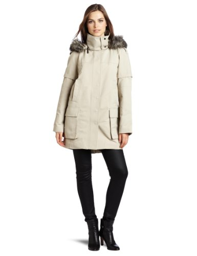 Vince Camuto Women's Faux Fur Trim Hooded Long Coat