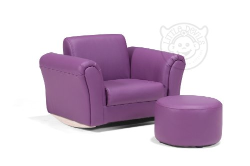 PURPLE LAZYBONES LEATHER ROCKING Chair Armchair Kids Childrens with FREE Footstool (GENUINE LEATHER)