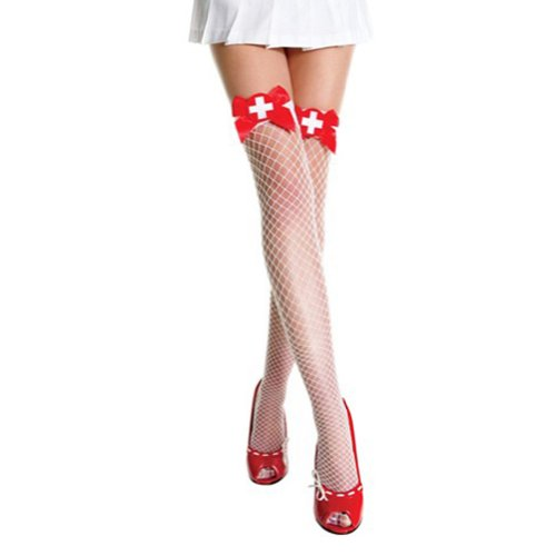Muka Nurse Sheer White Thigh High Stockings With Satin Bow & Embroidered Badge