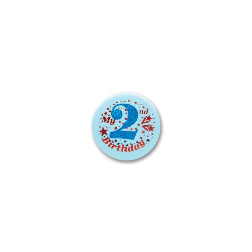 "My 2nd Birthday Satin Button (Blue) 2"" Party Accessory - 1"