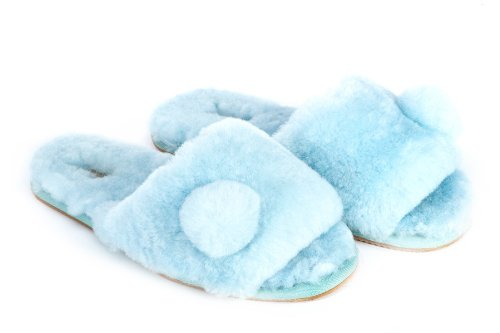 Cheap Sheep Touch Women's ACACIA Australian Sheepskin Slippers Open Toe Blue (B005PR9UTU)