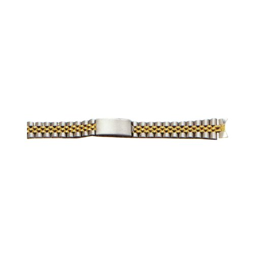 12Mm Two-Tone White/Yellow Ladies Metal Watch Band With Curved End front-636558