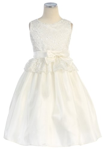 Sweet Kids Pink Lace Easter Dress Toddler Little Girls 2T-12 (6, Off-White)