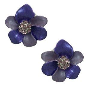 Eileen Silver Lilac Crystal Flower Clip On Earrings