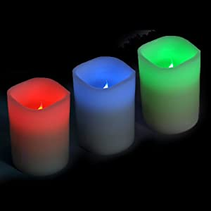 3x Colour Changing LED Vanilla Scented Flameless Wax Candles with Timer & Remote Control by VR DIRECT