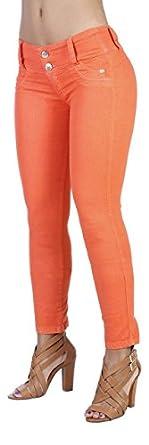 Curvify Women's Butt Lift Skinny Jeans - High Rise Brazilian Style Orange 3