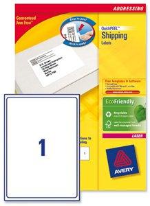 Avery L7167-500 Lot de 500 étiquettes adresses pour impression laser Blanc 199,6 x 289,1 mm