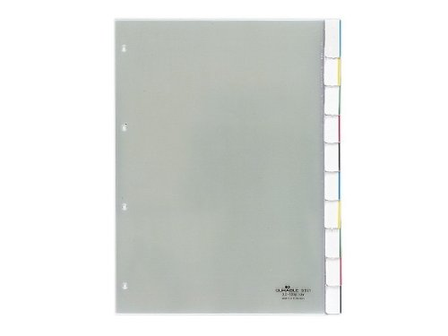 Durable 682119 File Dividers Hard Transparency Sleeves Blank Tabs for A4 10 Sheets Transparent