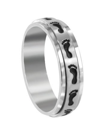 Stainless Steel Polished Finish Black Oxidized Footprint Spinning 6mm Wide Band Ring Size 7, 8, 9, 10, 11, 12, 13