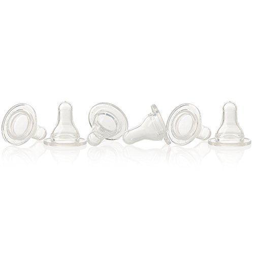 Evenflo Feeding Silicone Slow Flow Nipple, Slow, 6 Count - 1