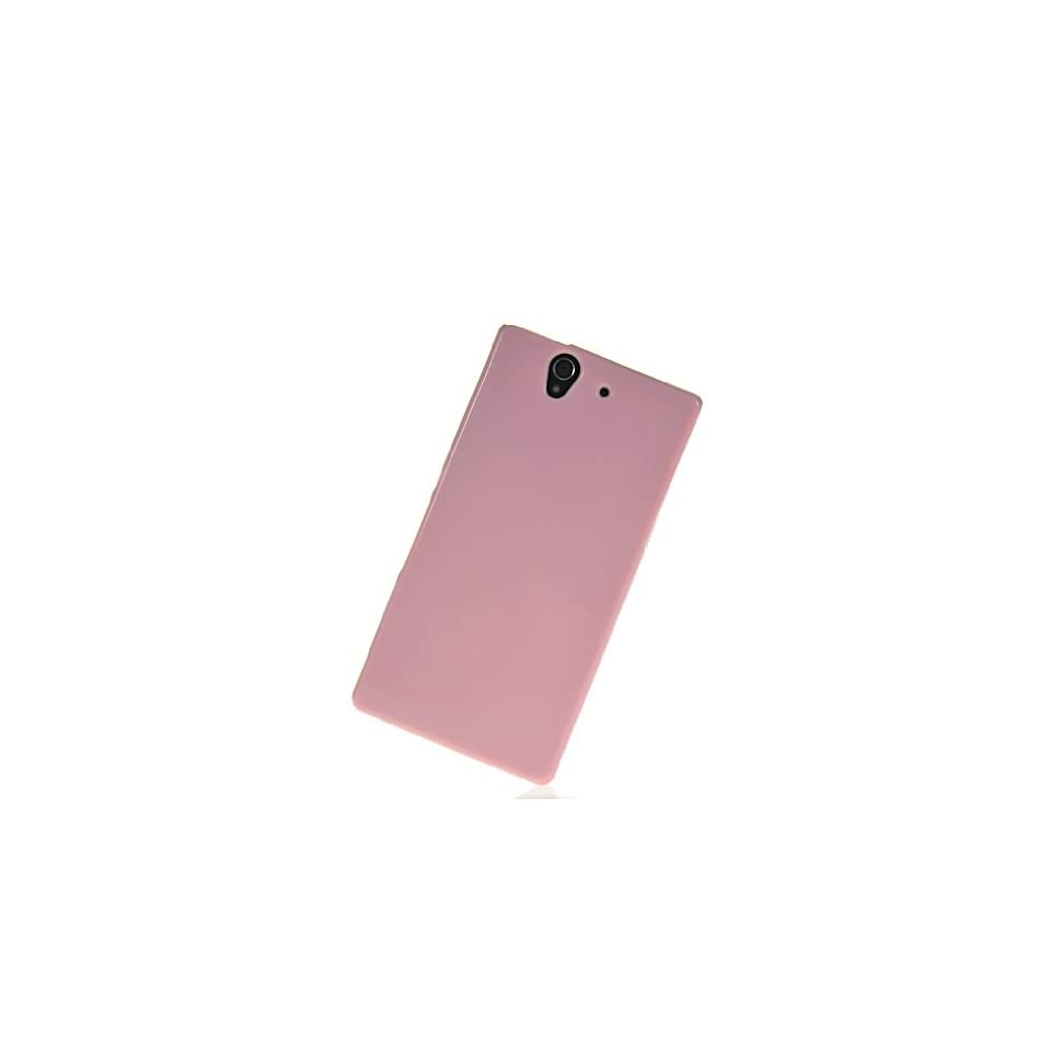 MOONCASE Glitter Soft Gel Tpu Silicone Skin Style Devise Back Case Cover With Screen Protector for Sony Xperia Z L36H Babypink Cell Phones & Accessories