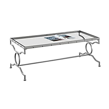 "Monarch Specialties I 3324 Tempered Glass Coffee Table 48"" L x 22"" W x 18"" H Silver"