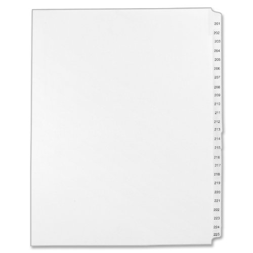 Avery Legal Dividers, Standard Collated Sets, Letter Size, Side Tabs, 201-225