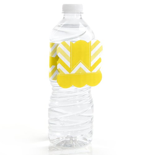 Chevron Yellow - Party Water Bottle Labels (Set Of 12)