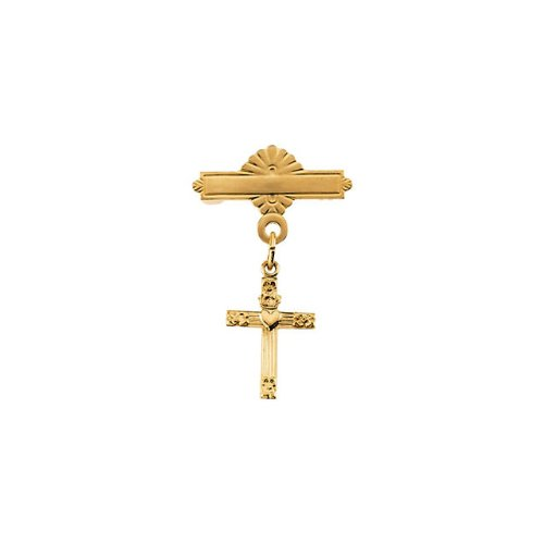 R16732 14KY Gold 13X10mm Polished Cross W/Heart Baptismal Pin