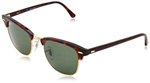 Ray-Ban RB3016 Classic Clubmaster Sunglasses, Non-Polarized, Tortoise/Arista Frame/Crystal Green Lens, 51 mm